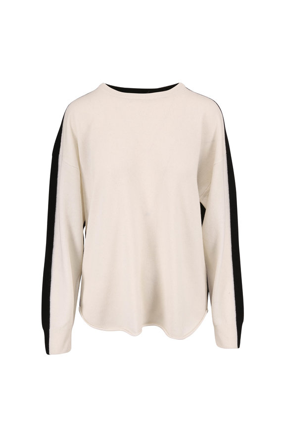 Dorothee Schumacher Luxury Volumes Cream & Black Cashmere Sweater