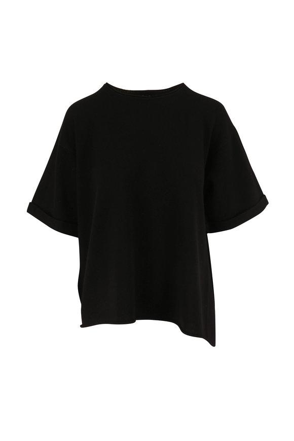 Dorothee Schumacher Luxury Volumes Black Cashmere Short Sleeve Sweater