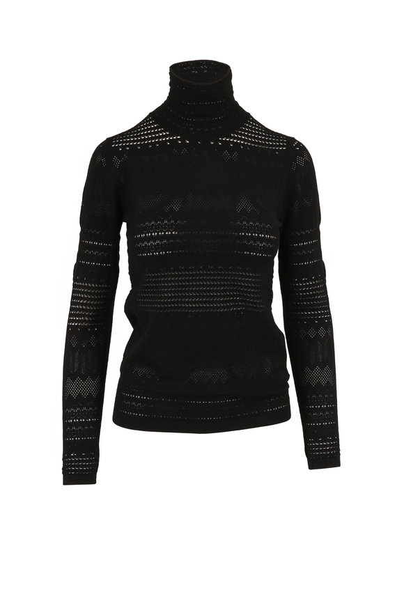 Dorothee Schumacher Sleek Sophistication Black Pointelle Turtleneck