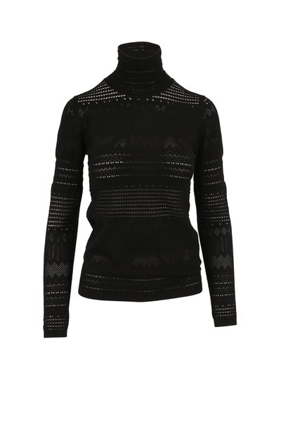 Dorothee Schumacher - Sleek Sophistication Black Pointelle Turtleneck