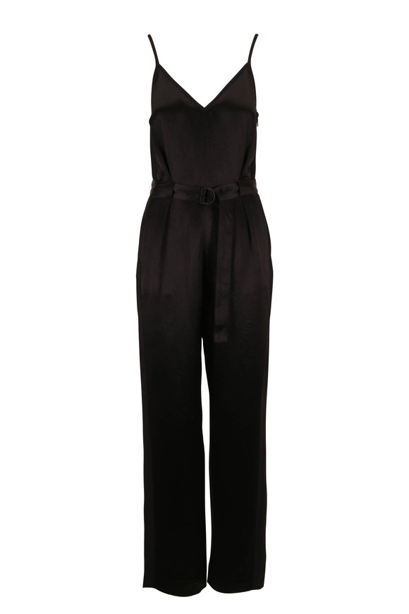 Rag & Bone Rochelle Black Satin Belted Jumpsuit