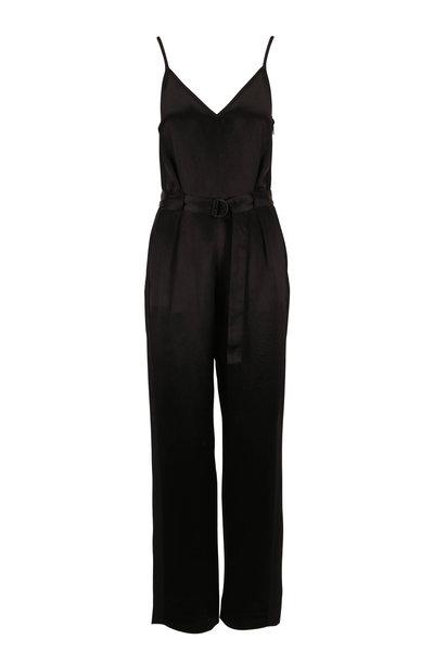 Rag & Bone - Rochelle Black Satin Belted Jumpsuit