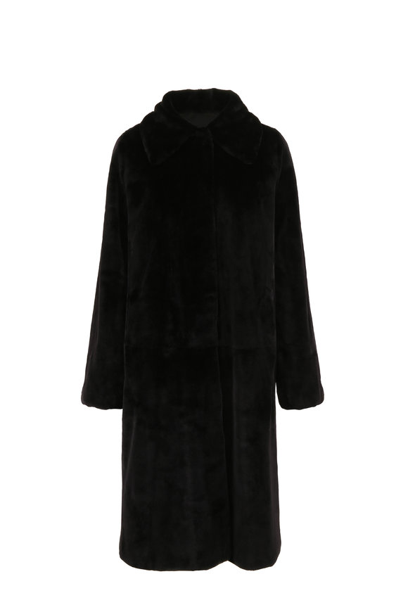 Oscar de la Renta Furs Black Dyed Mink Reversible Coat