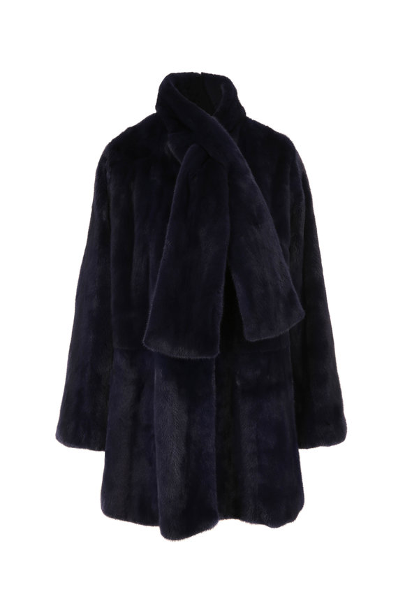 Oscar de la Renta Furs Navy Blue Mink & Taffeta Reversible Swing Coat