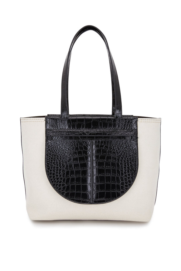 Tod's Joy Natural Canvas & Black Embossed Leather Tote