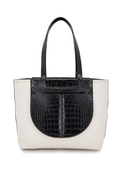 Tod's - Joy Natural Canvas & Black Embossed Leather Tote