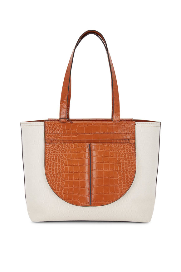 Tod's Joy Natural Canvas & Brick Embossed Leather Tote