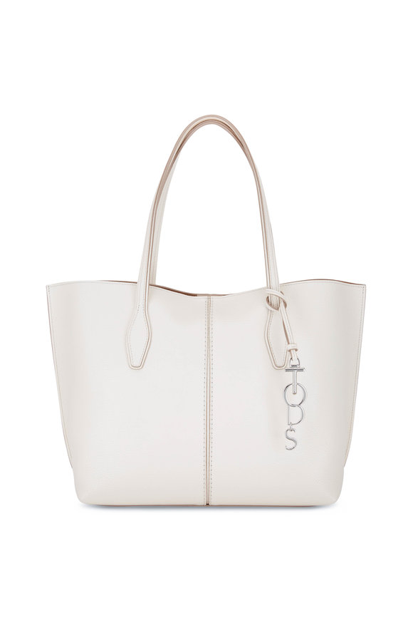 Tod's Joy White Pebbled Leather Medium Shoulder Bag