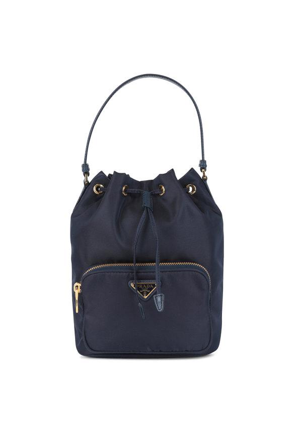 Prada Navy Blue Drawstring Bucket Bag