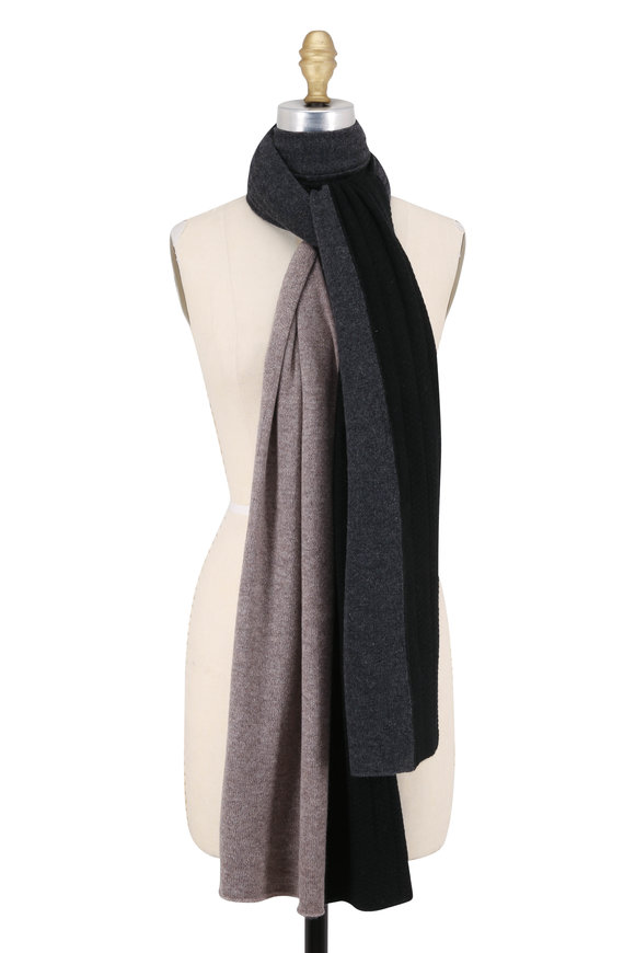 Kinross Charcoal Multi Cashmere Colorblock Travel Wrap