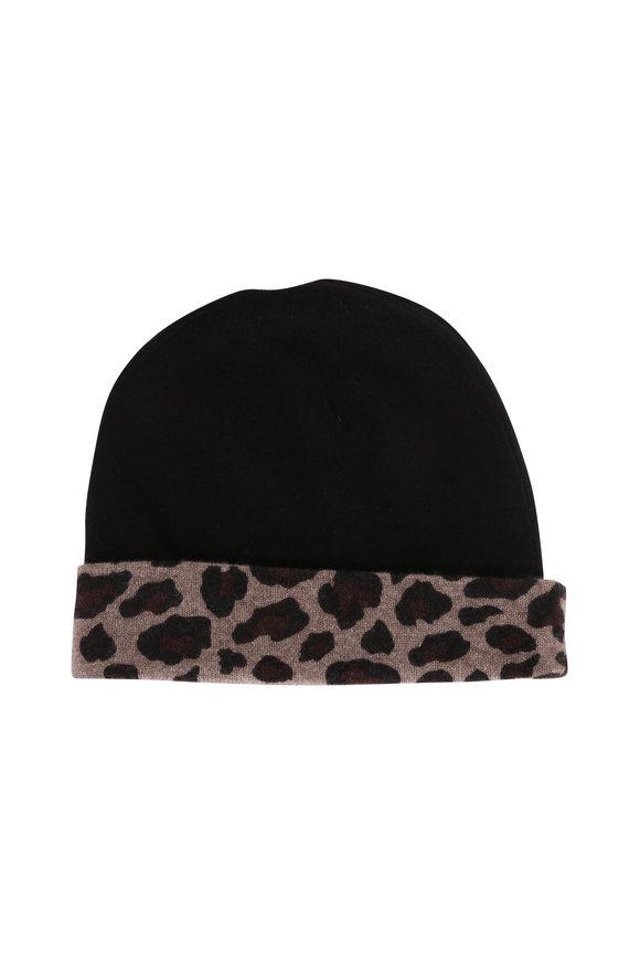 Kinross Suede Multi & Black Cashmere Leopard Trim Hat