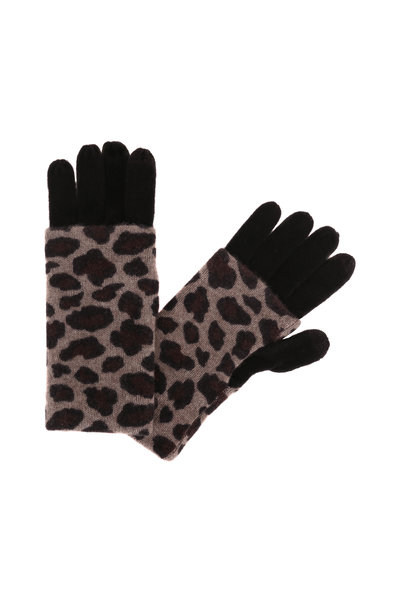 Kinross - Suede Multi Cashmere Leopard Print Foldable Gloves