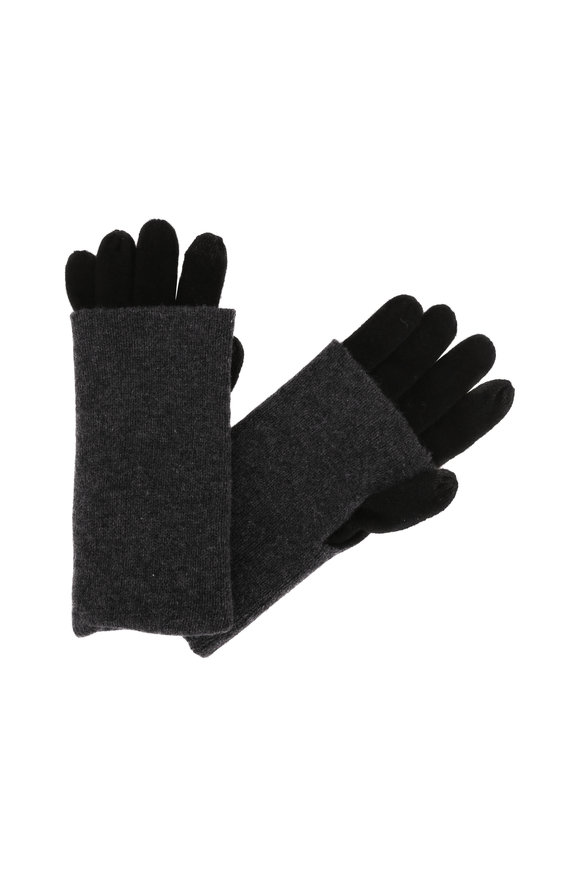 Kinross Black & Charcoal Cashmere Foldable Gloves