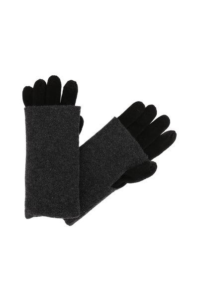 Kinross - Black & Charcoal Cashmere Foldable Gloves