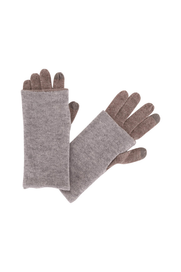 Kinross Suede & Sterling Cashmere Foldable Gloves
