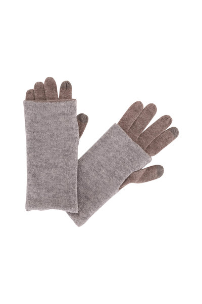 Kinross - Suede & Sterling Cashmere Foldable Gloves