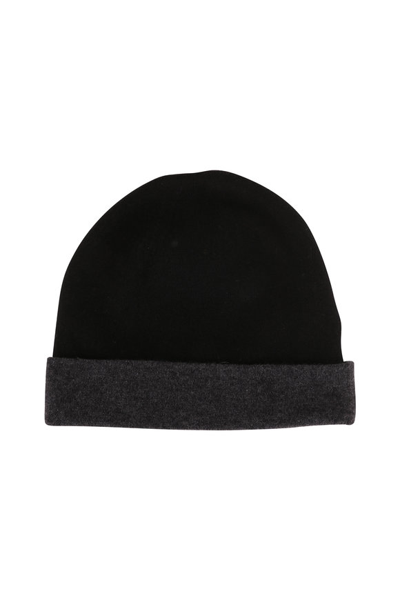 Kinross Black & Charcoal Cashmere Reversible Hat