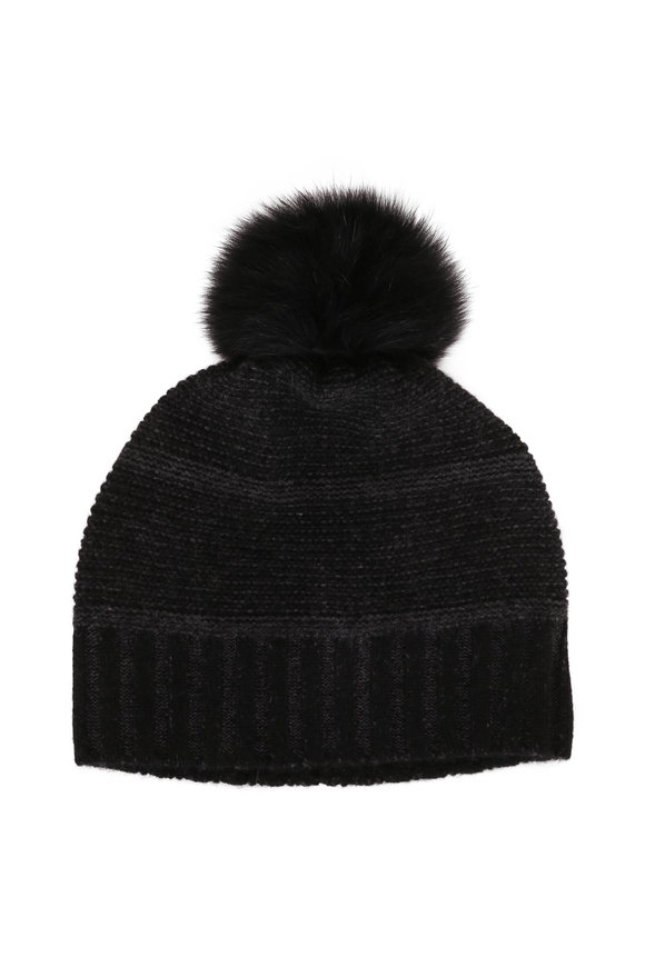 Kinross Black & Charcoal Cashmere Fur Pom Pom Hat
