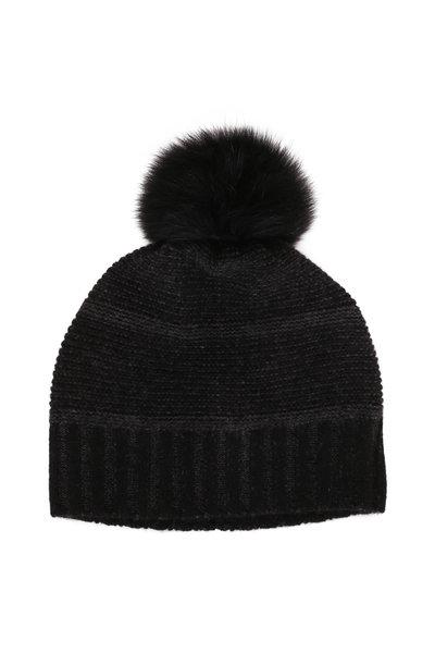 Kinross - Black & Charcoal Cashmere Fur Pom Pom Hat