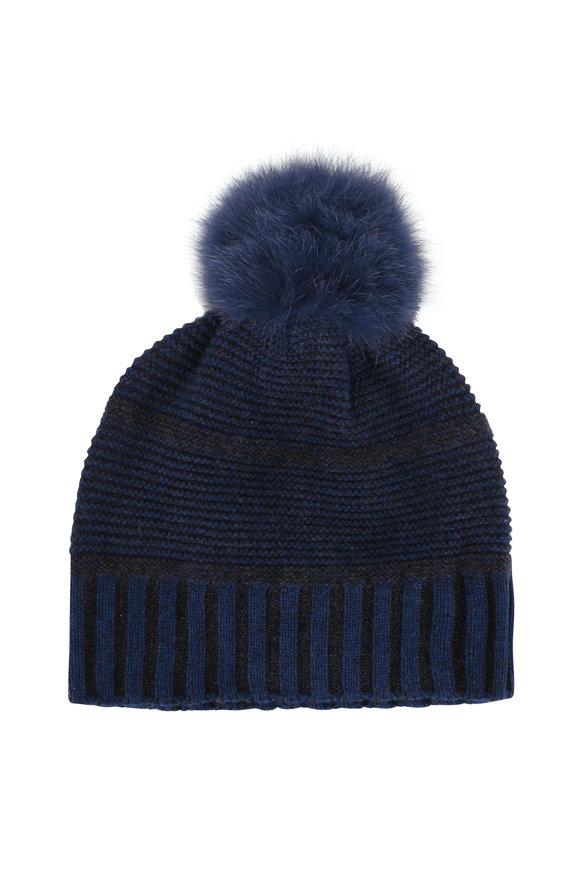 Kinross Winter Teal & Charcoal Cashmere Fur Pom Pom Hat