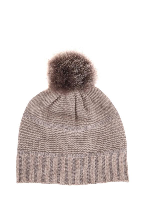 Kinross Fawn & Sterling Cashmere Fur Pom Pom Hat