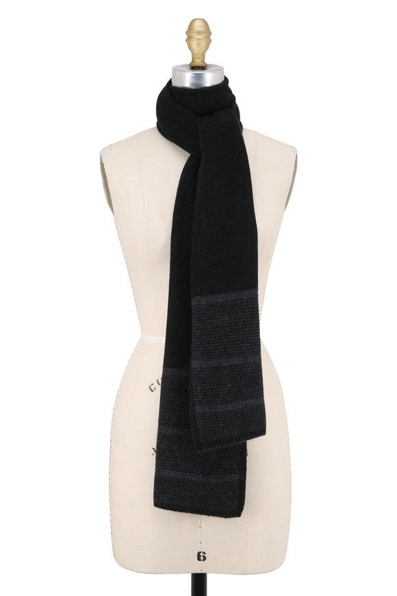 Kinross Black & Charcoal Cashmere Plaited Scarf