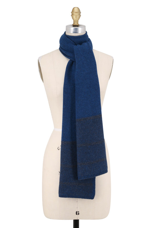 Kinross Winter Teal & Charcoal Cashmere Plaited Scarf