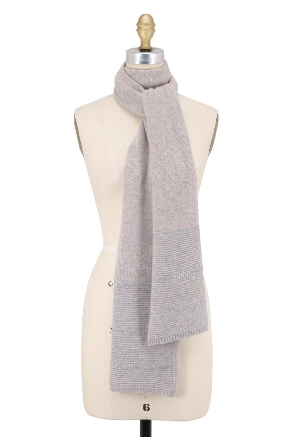 Kinross Fawn & Sterling Cashmere Plaited Scarf