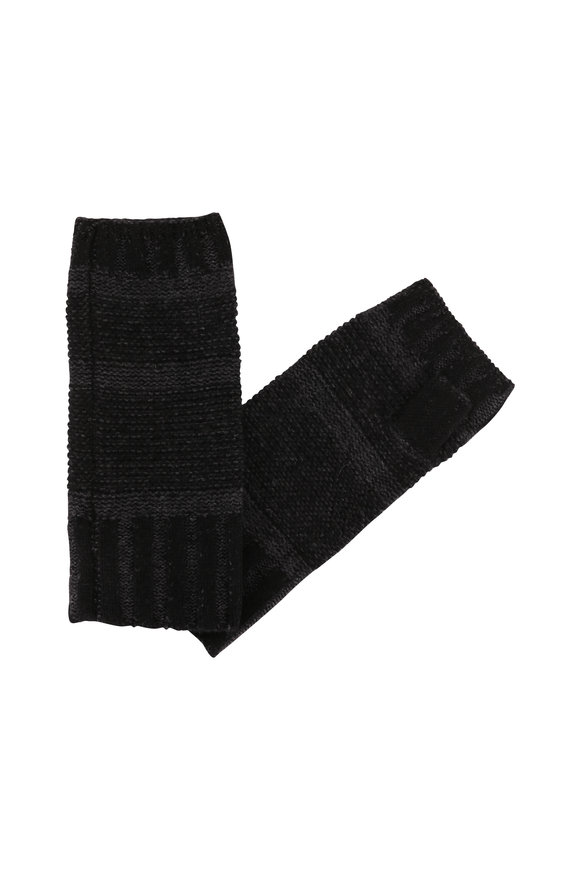 Kinross Black & Charcoal Cashmere Fingerless Gloves