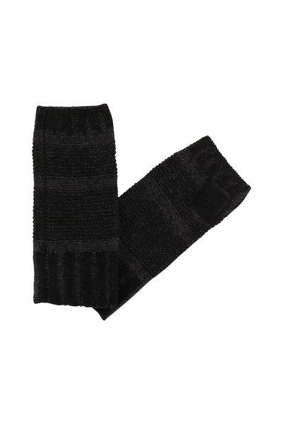 Kinross - Black & Charcoal Cashmere Fingerless Gloves