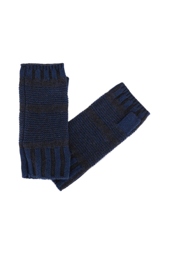 Kinross Winter Teal & Charcoal Cashmere Fingerless Gloves