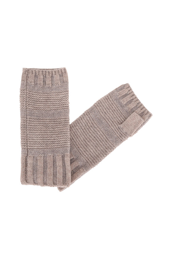 Kinross Fawn & Sterling Cashmere Fingerless Gloves