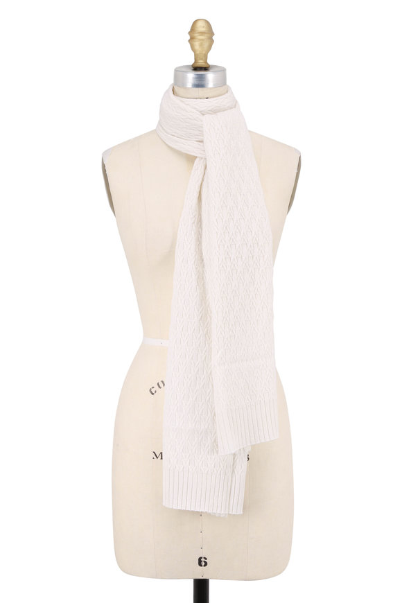 Kinross Ivory Cashmere Cable Knit Scarf