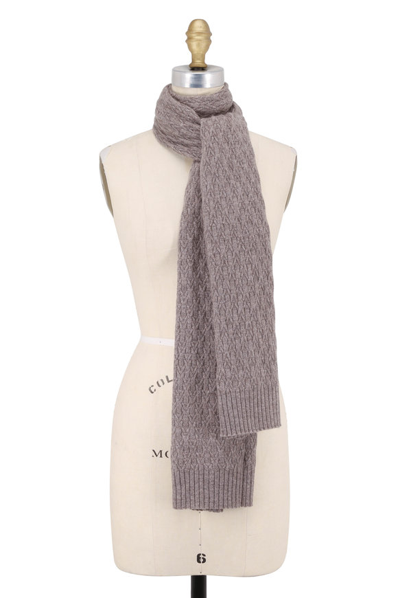 Kinross Suede Cashmere Cable Knit Scarf