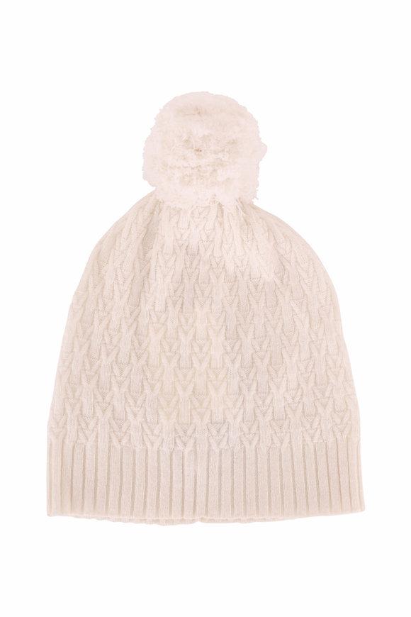 Kinross Ivory Cashmere Cable Knit Pom Pom Hat