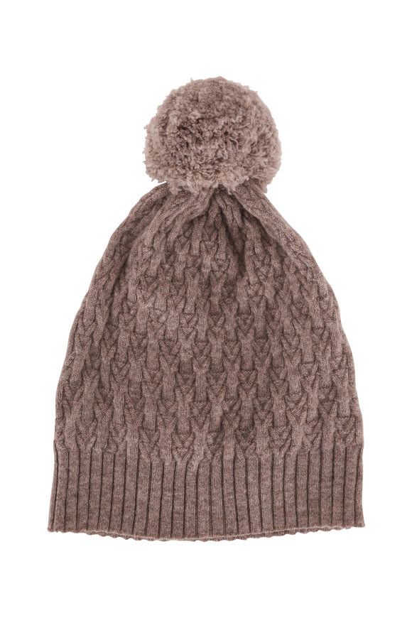 Kinross Suede Cashmere Cable Knit Pom Pom Hat