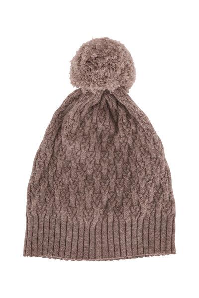 Kinross - Suede Cashmere Cable Knit Pom Pom Hat