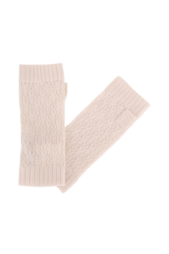 Kinross Ivory Cashmere Cable Knit Fingerless Gloves
