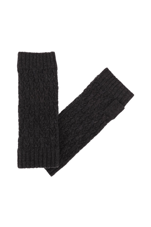 Kinross Charcoal Cashmere Cable Knit Fingerless Gloves