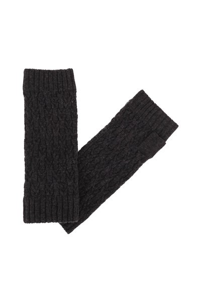 Kinross - Charcoal Cashmere Cable Knit Fingerless Gloves