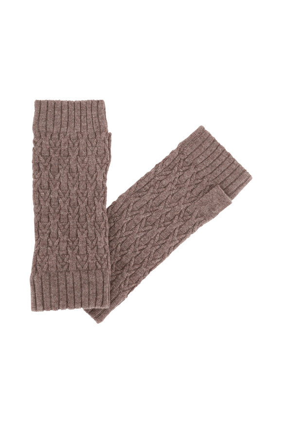 Kinross Suede Cashmere Cable Knit Fingerless Gloves