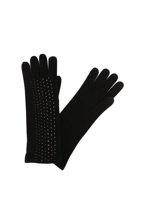 Kinross Black Cashmere Crystal Long Gloves