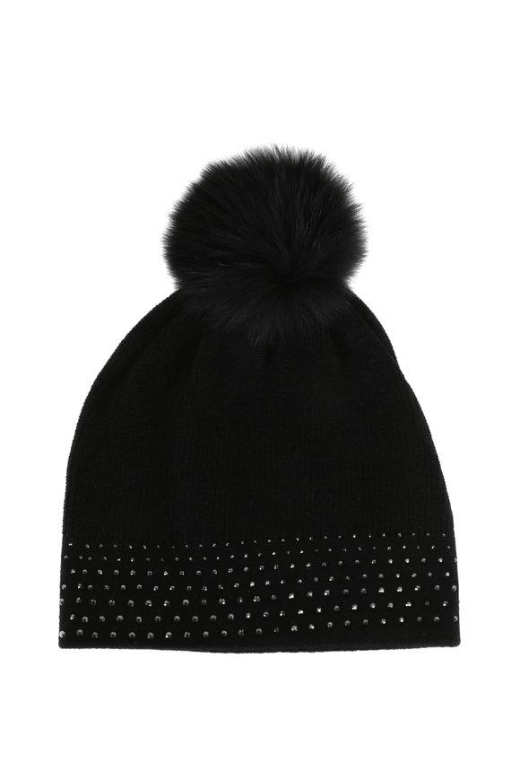 Kinross Black Cashmere Crystal Fur Pom Pom Hat