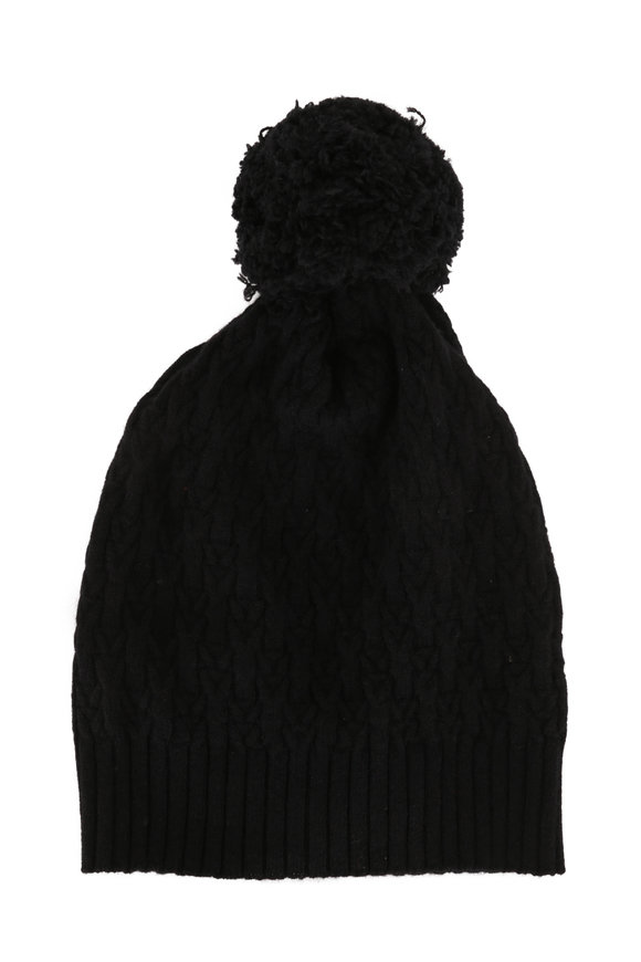 Kinross Black Cashmere Cable Knit Pom Pom Hat
