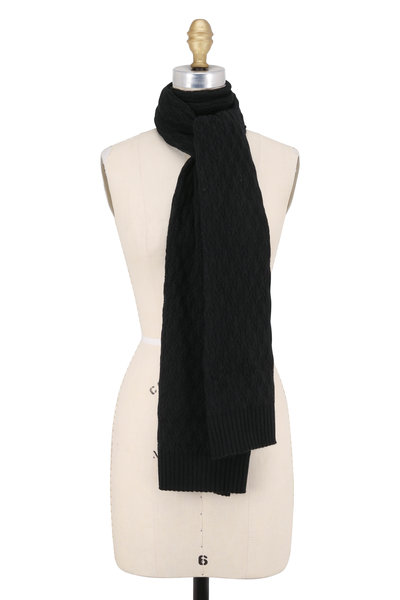 Kinross - Black Cashmere Cable Knit Scarf