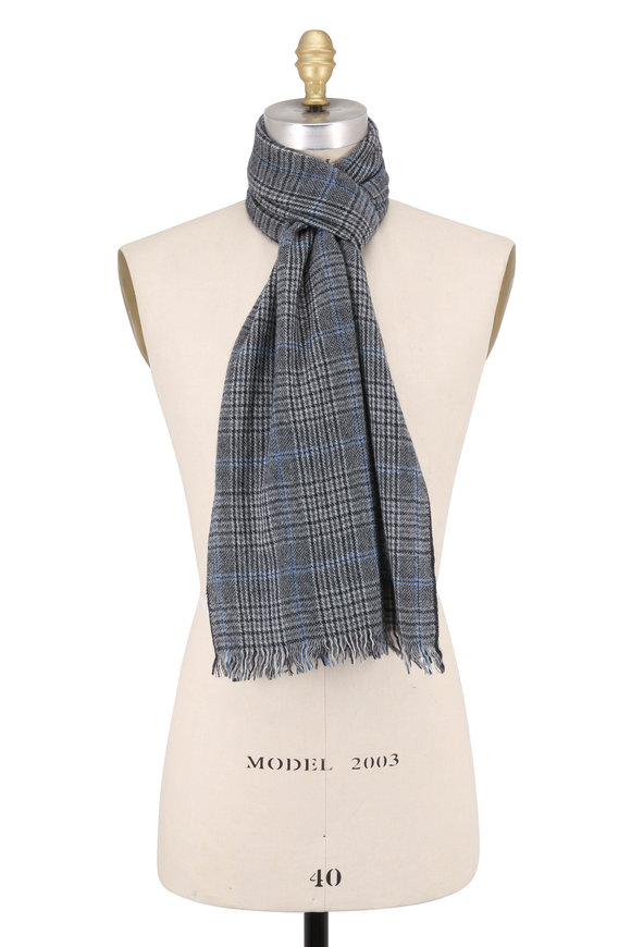 Hickey Freeman Charcoal Gray Glen Plaid Cashmere Scarf
