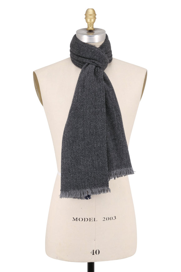 Hickey Freeman Gray, Black & Navy Herringbone Cashmere Scarf