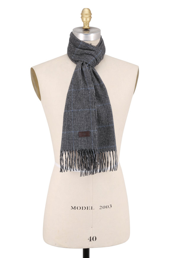 Hickey Freeman Gray & Black Glen Plaid Cashmere Scarf