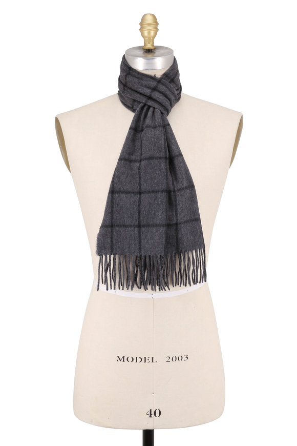 Hickey Freeman Gray & Black Windowpane Cashmere Scarf