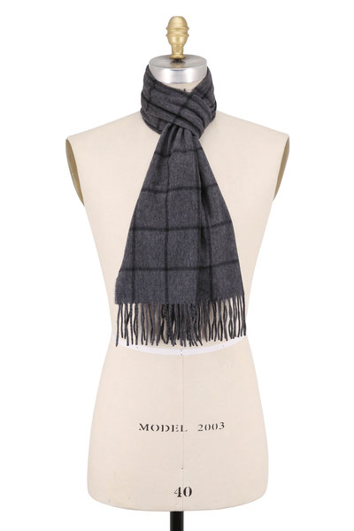 Hickey Freeman - Gray & Black Windowpane Cashmere Scarf
